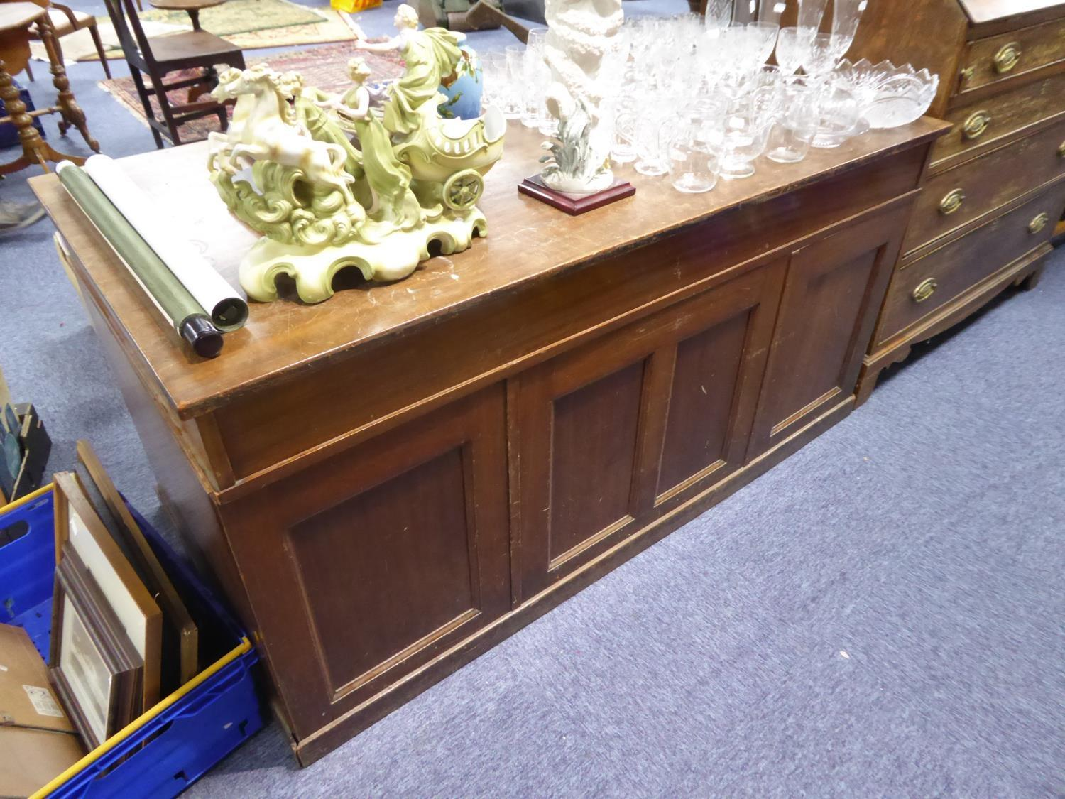 POST WAR MAHOGANY TWIN PEDESTAL DESK, the oblong top above three frieze drawers and pair of - Image 2 of 2