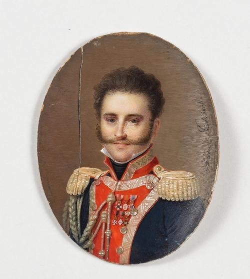 Lot 157 - AMADA THIBAULT (Francia, 1780 – 1868) Retrato del coronel Manuel Aguirre y Aguirre, con uniforme