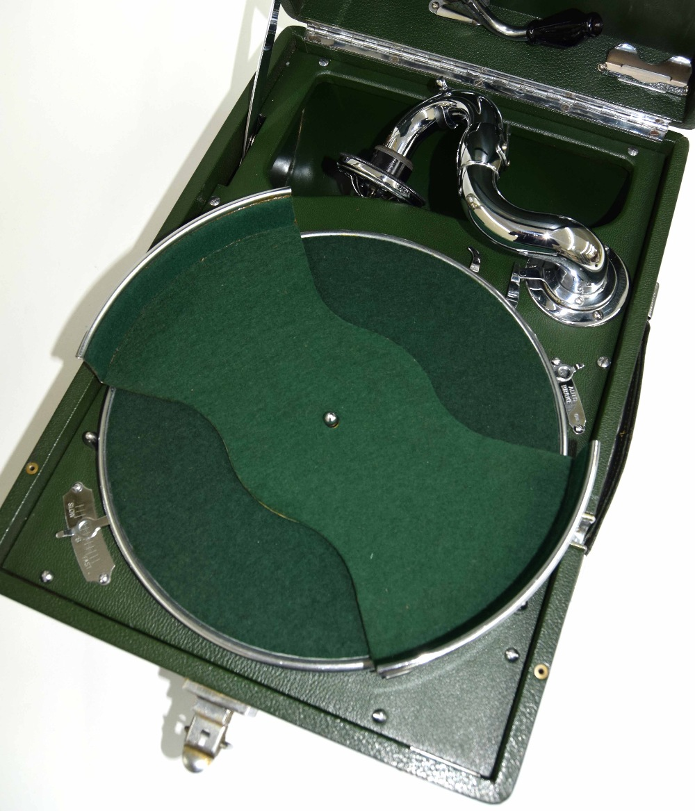 Lot 406 - HMV model 102 portable gramophone, in green leatherette carry case, complete with HMV no. 5A sound