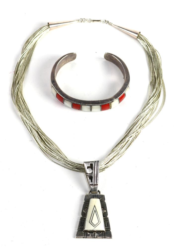 Lot 4505 - (Lot of 2) Native American multi-stone, sterling silver, silver jewelry