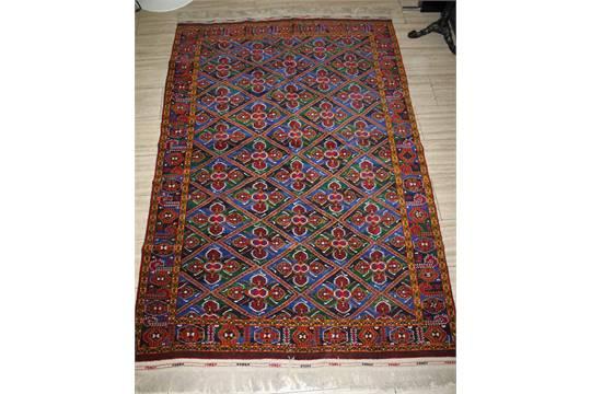 Russland Teppich Wolle Ornamentische Kassetten In Senfgelb Gr 252