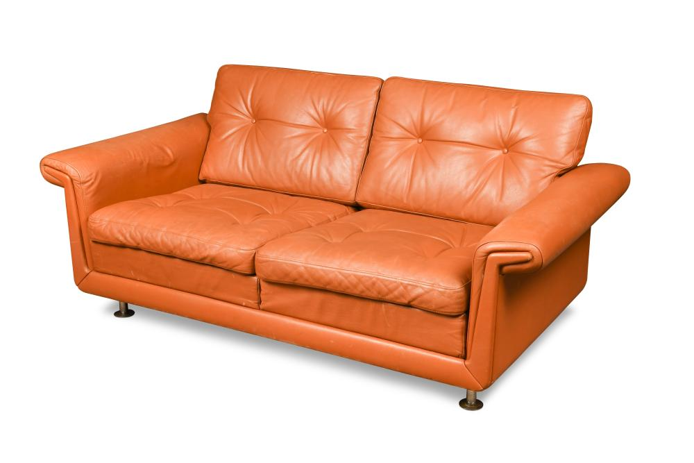 Fabulous A 1970S Danish Two Seater Leather Sofa Finished In Cognac Machost Co Dining Chair Design Ideas Machostcouk