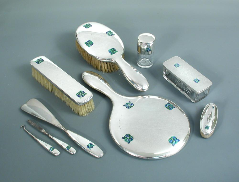Liberty Co A Silver And Enamel, Dressing Table Set Mirror Brush