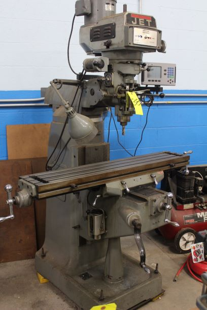 "JET Model JTM 475 3-Hp Variable Speed Vertical Milling Machine, S/N 407077, 60-4200 RPM, 9"" x 49"" - Image 2 of 2"