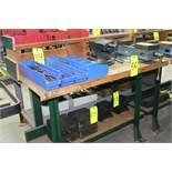 4' Laminate Hardwood Top Workbench w/ Custom Riser Shelf;, Bench Only - No Contents)