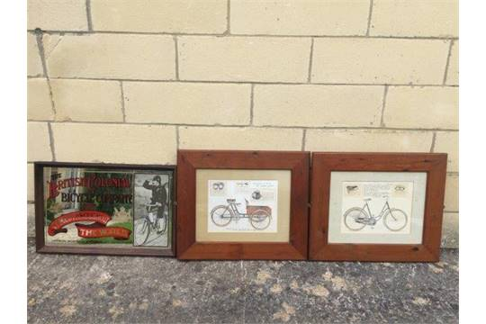 A framed and glazed bicycle print and an advertising mirror - The ...