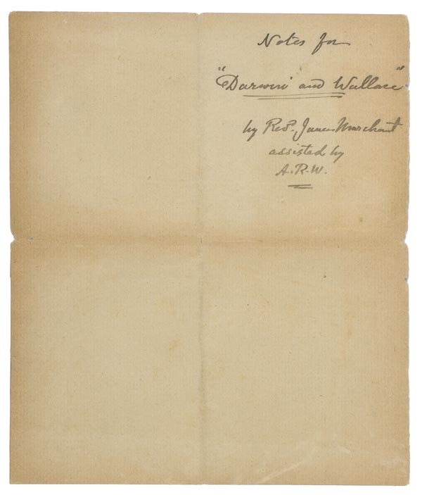 *Wallace (Alfred Russel, 1823-1913). 'Notes for the use of Mr. James Marchant as to his proposed - Image 2 of 6