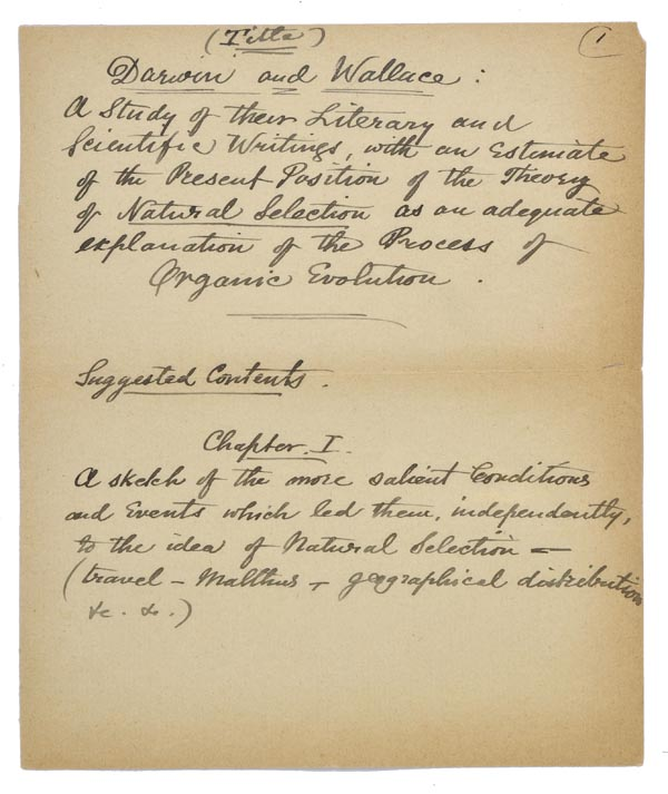 *Wallace (Alfred Russel, 1823-1913). 'Notes for the use of Mr. James Marchant as to his proposed