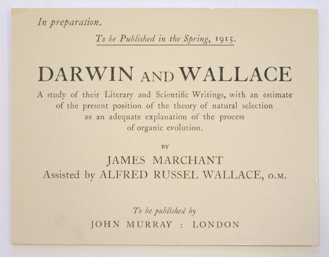 *Wallace (Alfred Russel, 1823-1913). 'Notes for the use of Mr. James Marchant as to his proposed - Image 6 of 6
