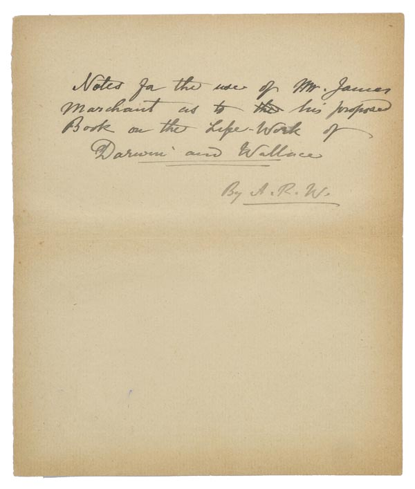 *Wallace (Alfred Russel, 1823-1913). 'Notes for the use of Mr. James Marchant as to his proposed - Image 3 of 6