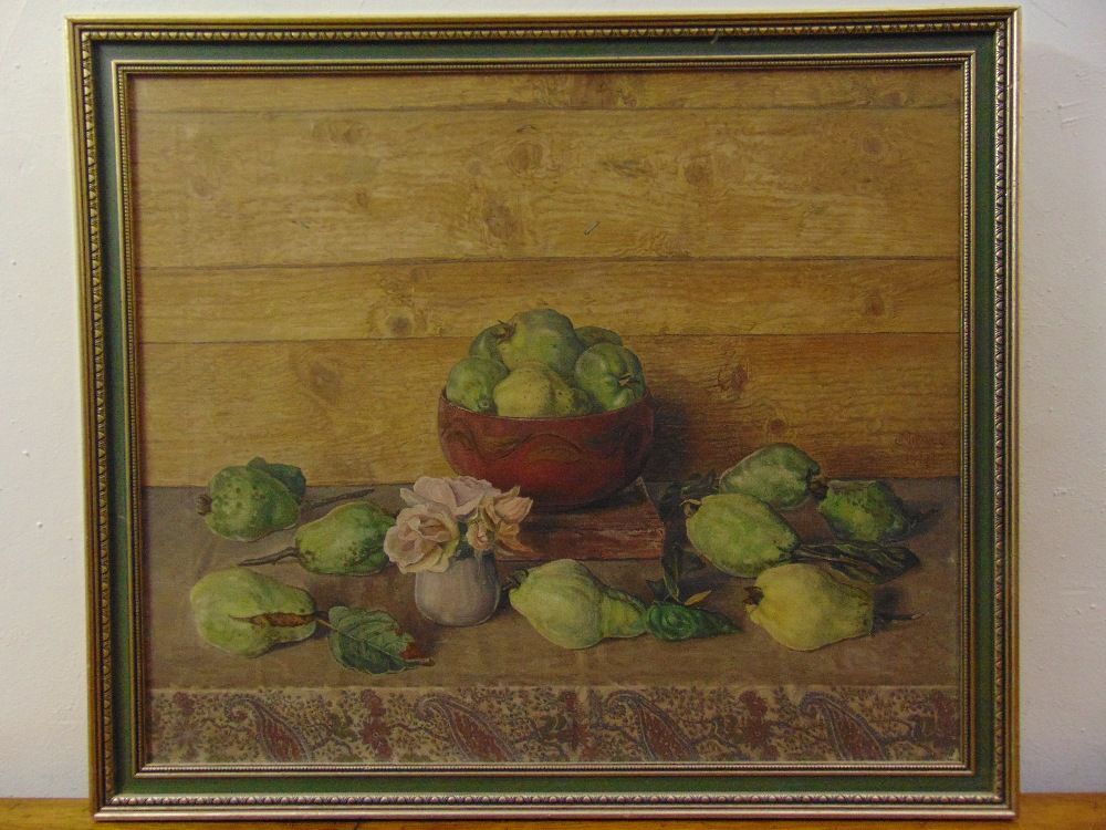 Lot 82 - J. Nieweg 1877-1955 framed oil on canvas still life of fruit and flowers, signed and dated 1941