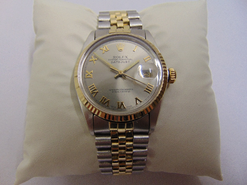 Rolex Oyster Perpetual Datejust, stainless steel and 18ct yellow gold wristwatch, slate grey dial