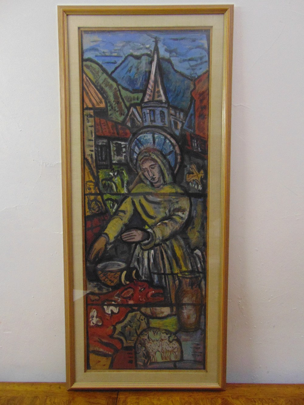 Evie Sydney Hone 1894-1955, framed and glazed gouache on board study of the stained glass window