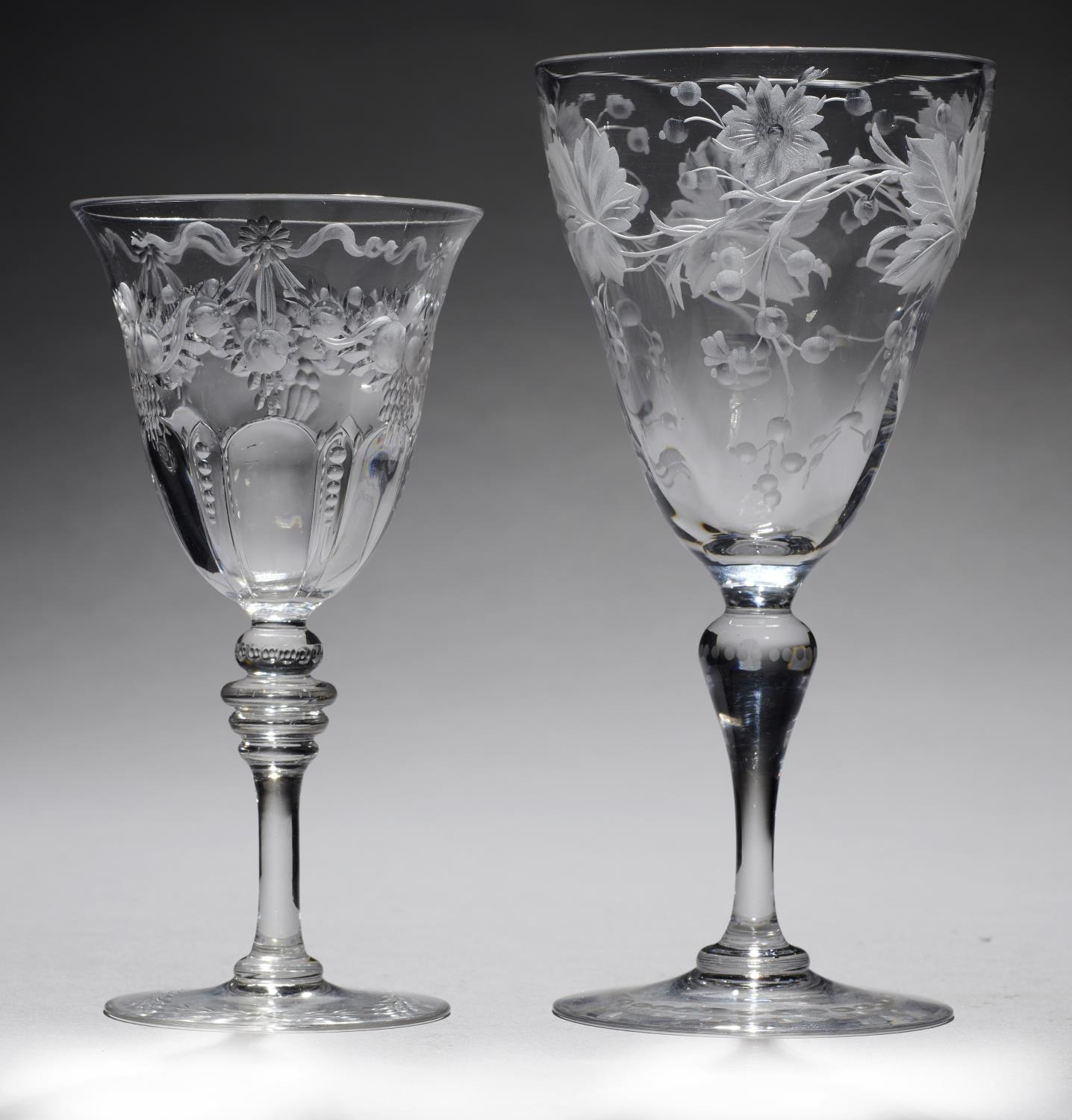 Lot 374 - TWO ENGLISH INTAGLIO ENGRAVED 'ROCK CRYSTAL' WINE GLASSES, ONE THOMAS WEBB & SONS, EARLY 20TH C