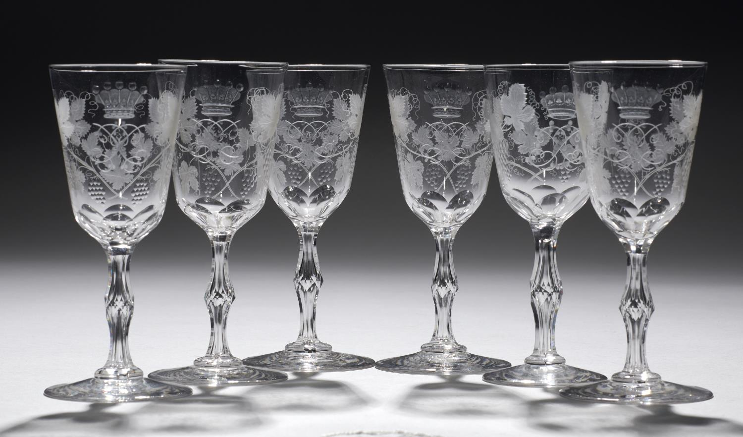 A SET OF SIX ENGLISH WINE GLASSES, EARLY 20TH C engraved with a mirror monogram beneath the