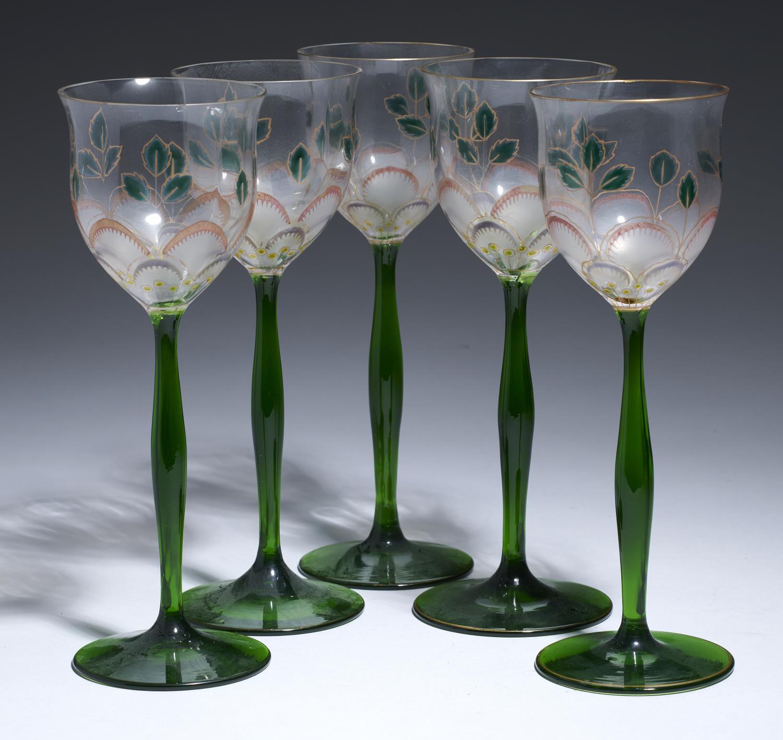 Lot 220 - A SET OF FIVE GERMAN JUGENDSTIL ENAMELLED GLASS WINE GOBLETS, THERESIENTHAL STYLE, C1901-5 21.5cm h