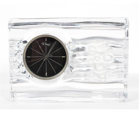 """A 'Daum' glass mantel clock, the 3 1/2"""" dial with steel bezel, the case with bubbles on a wavy ground, inscribed Daum France"""
