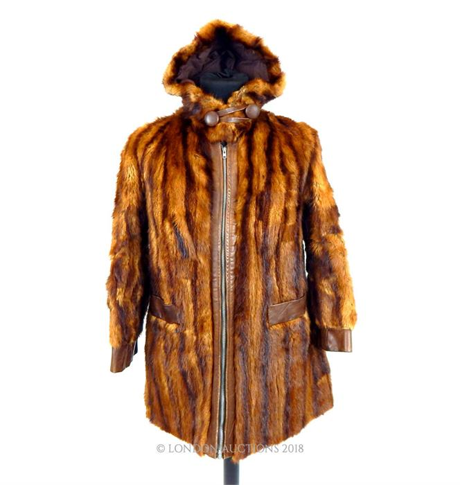 Lot 53 - A ladies, striped, brown mink fur and leather coat