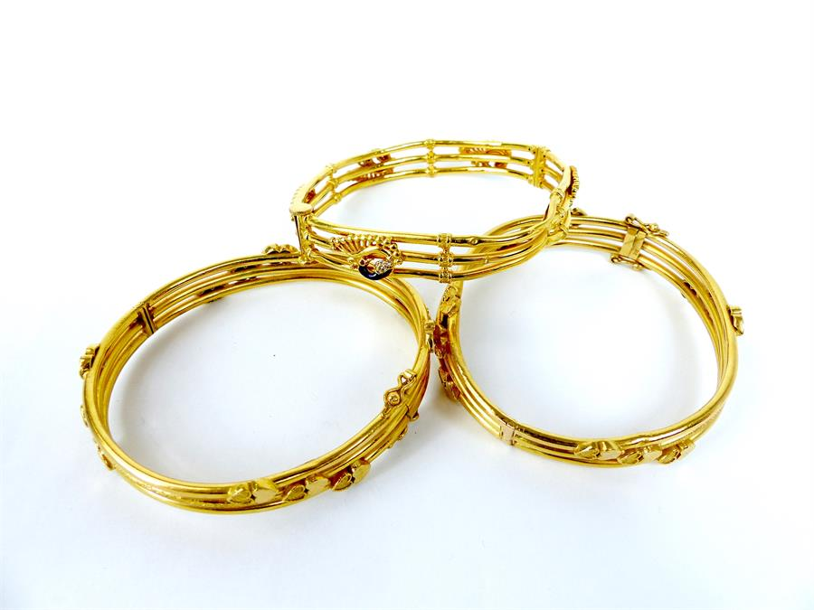 Lot 1 - Three, 22 ct, yellow gold, Indian bangles