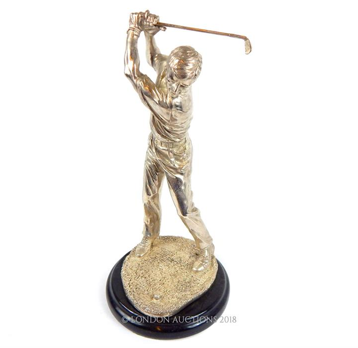 Lot 13 - A silvered figure of a golfer