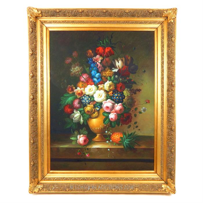 Lot 34 - A large contemporary oil on canvas still life of flowers