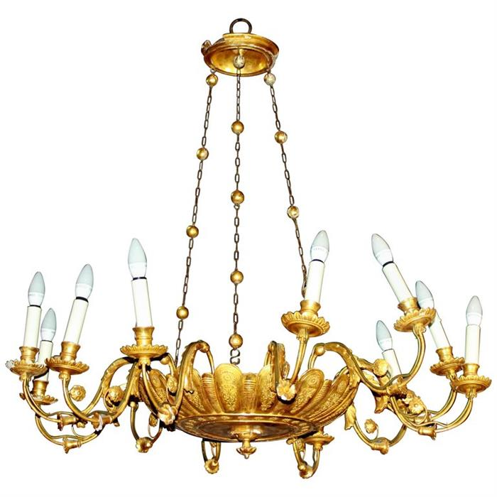 Lot 55 - An early 19th century, French, Regency, gilt-wood, chandelier