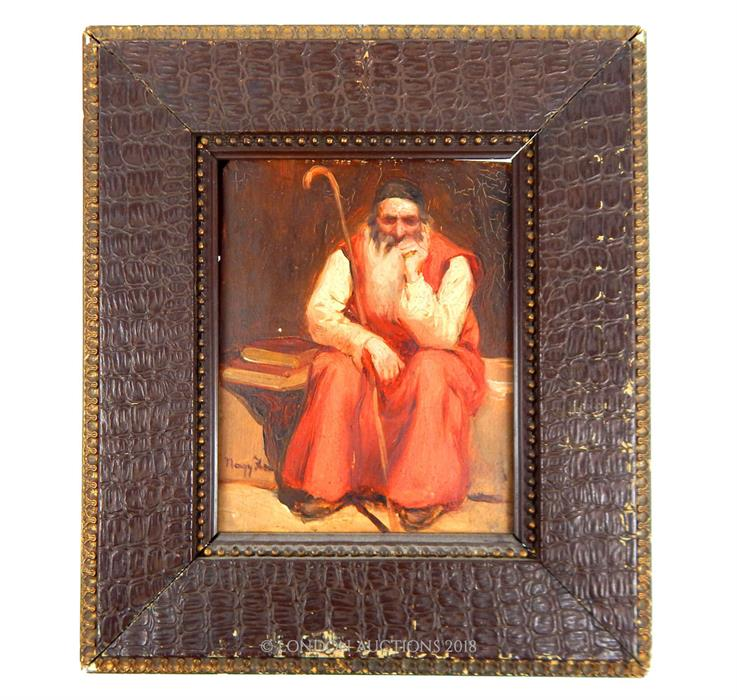 Lot 7 - Signature indistinct, A 19th century, Framed, Orientalist painting of a seated gentleman