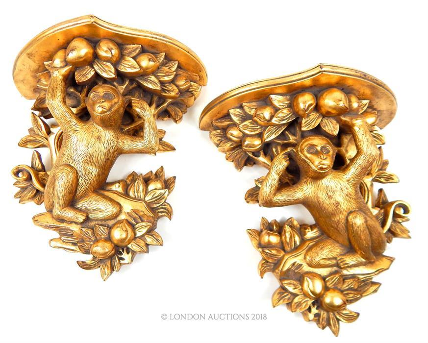 Lot 46 - A pair of gilt wall brackets