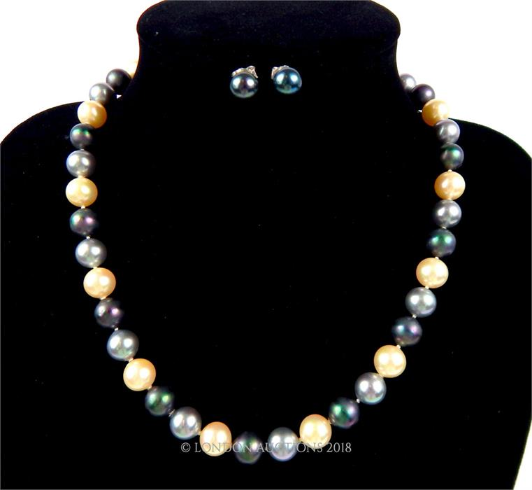 Lot 22 - A boxed, cultured pearl (3-tone) necklace and matching earrings
