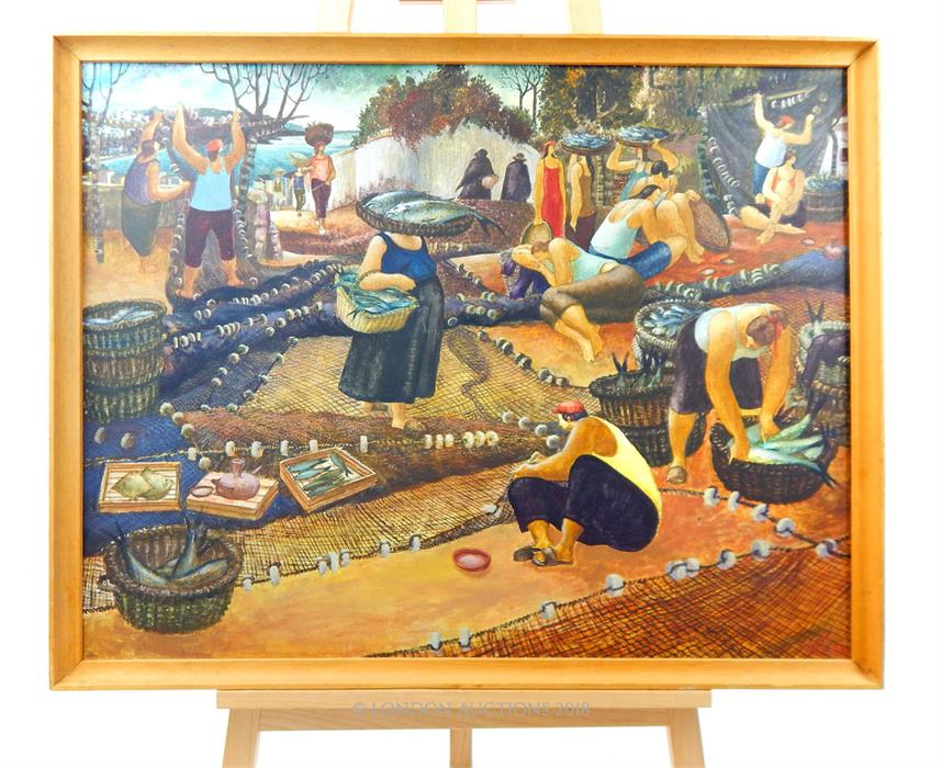 Lot 12 - Signature indistinct, A large, detailed oil painting depicting fisher-people