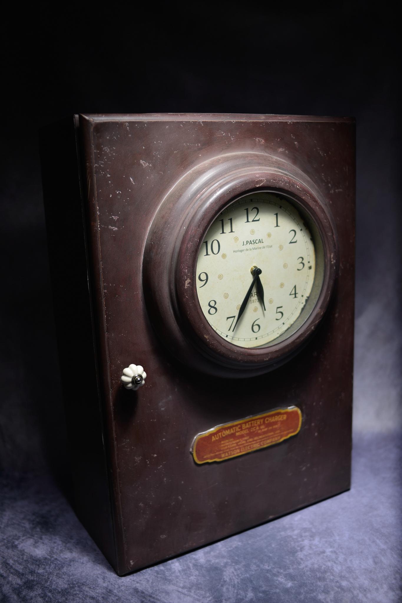 Retro Metal Industrial Cabinet Converted Into A Clock