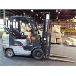 "NISSAN (2005) MCUGL02F36LV LPG FORKLIFT WITH 6700 LB. CAPACITY, 191"" MAX. LIFT HEIGHT, SIDE SHIFT,"