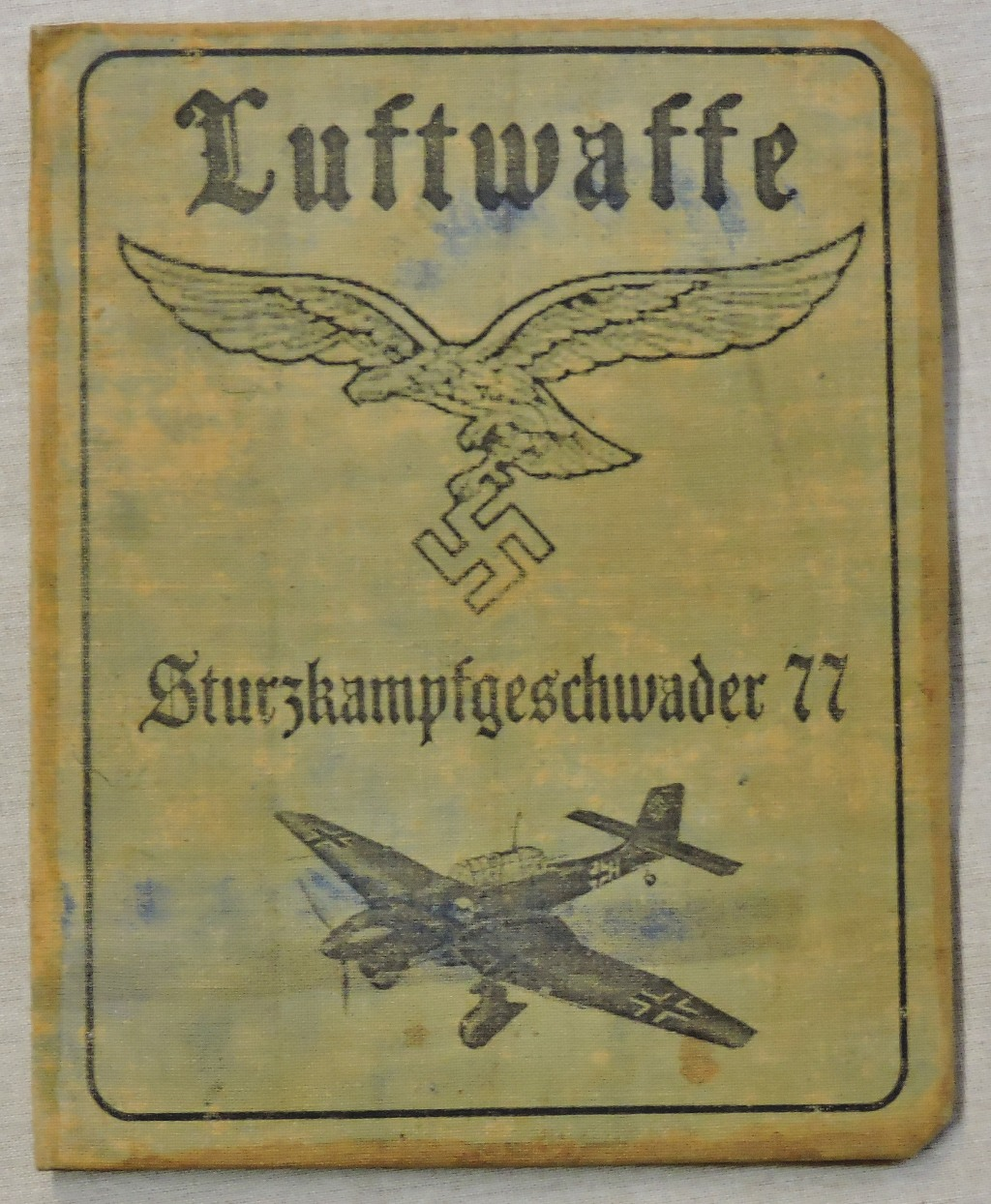 Lot 336 - German WWII Luftwaffe Stuka Pilots ID Card, 'Sturzkampfgeschwader 77' named to Hermann Huferback.