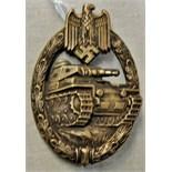 Lot 334 - German WWII Panzer Assault badge, bronze grade. See T&C's