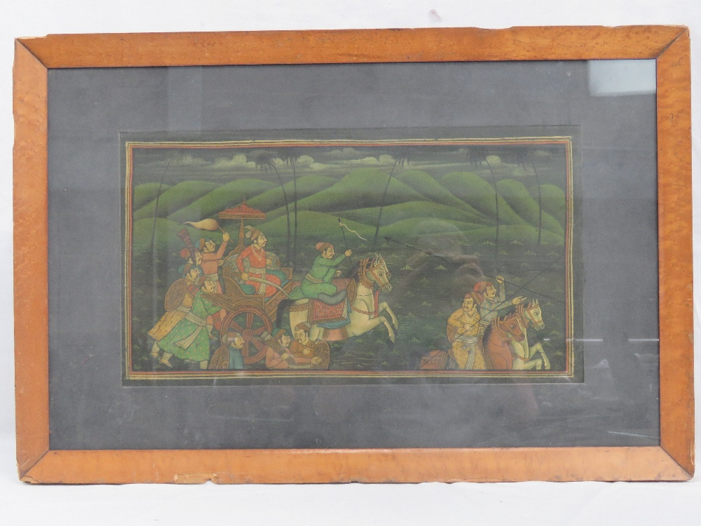 Lot 729 - A Mughal study of a hunting party, weapo