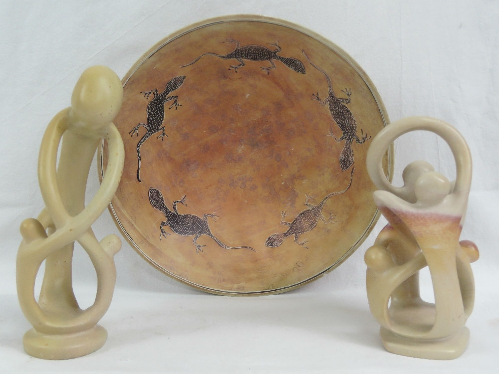Lot 571 - A North African soapstone bowl decorated