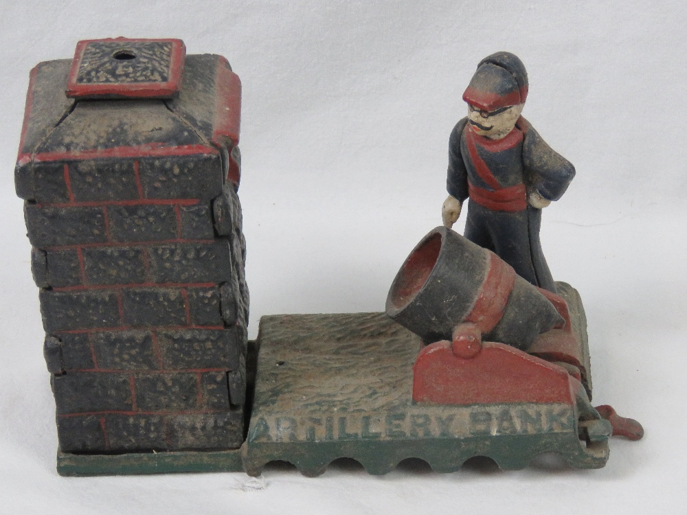 Lot 672 - A vintage cast metal 'Artillery Bank' me