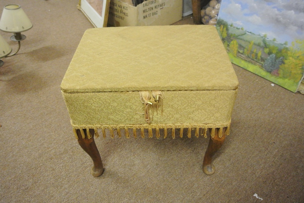 Furniture Home A Vintage Sewing Box Stool Complete With Related Contents
