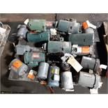 LOT OF (18) ELECTRIC MOTORS BRANDS INCLUDING; DAYTON RELIANCE BALDOR GE WESTINGHOUSE (1/2 HP-1 HP)