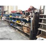 CONTENTS OF SHELVES: SANDING BELTS AND DISCS GRINDING WHEELS AND BRUSHES HINGES AND MISC.