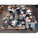 LOT OF (21) ELECTRIC MOTORS BRANDS INCLUDING; RELIANCE DOERR GE MARATHON LEESON DAYTONA MISC (1/4
