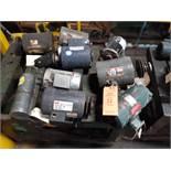 LOT OF (9) ELECTRIC MOTORS BRANDS INCLUDING; BALDOR DAYTON LEESON RELIANCE MISC (1/4 HP-1.5 HP)