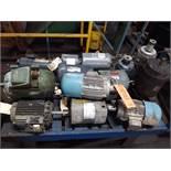 LOT OF (15) ELECTRIC MOTORS BRANDS INCLUDING; GE WEG LEESON ROCKWELL MISC (1/10 HP-2 HP)