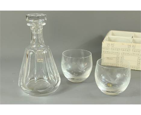 A Baccarat crystal decanter and stopper; together with six Moser tumblers etched with a forest scene. (2)