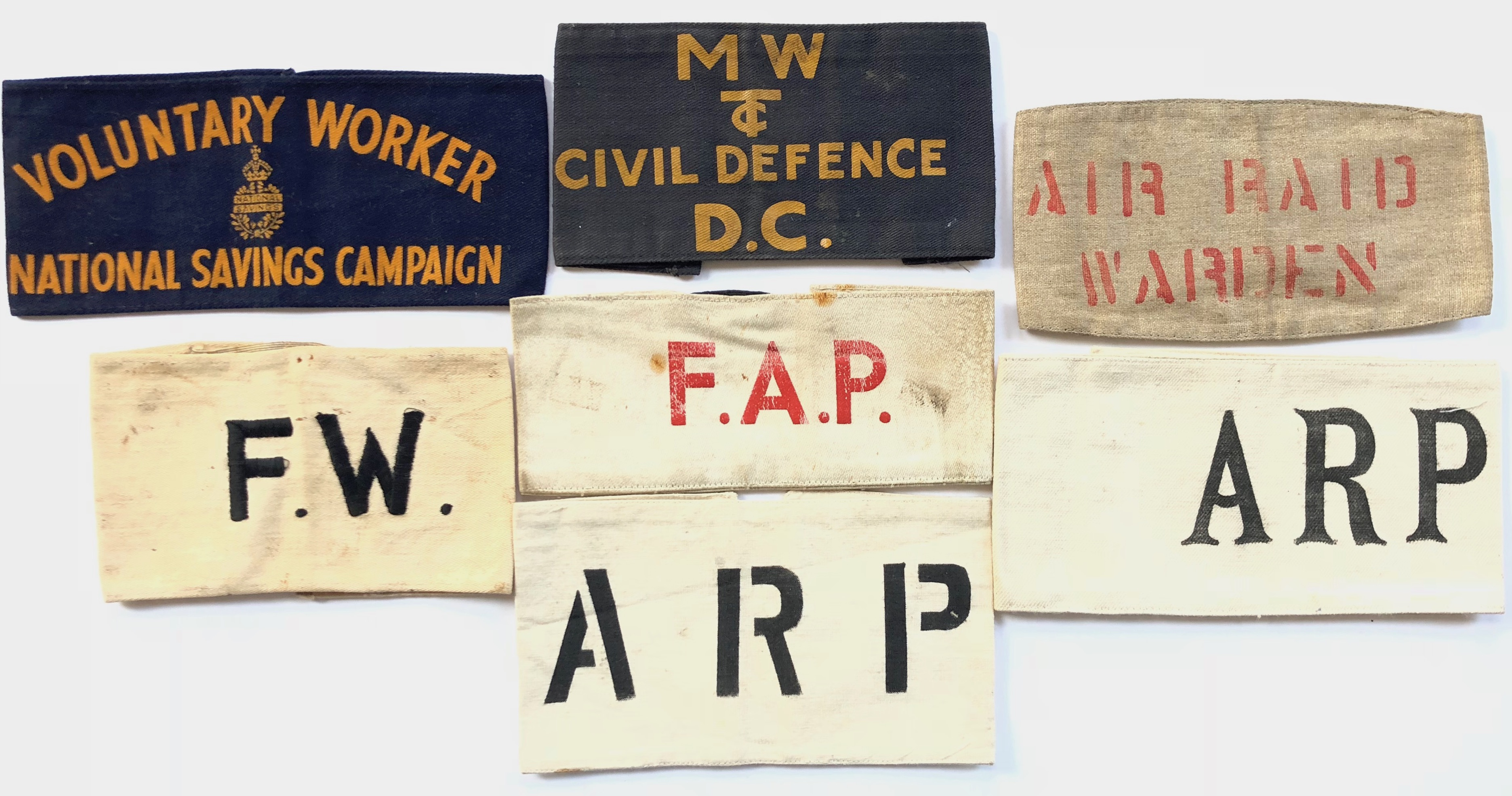 Lot 365 - WW2 Selection of Home Front Armbands.