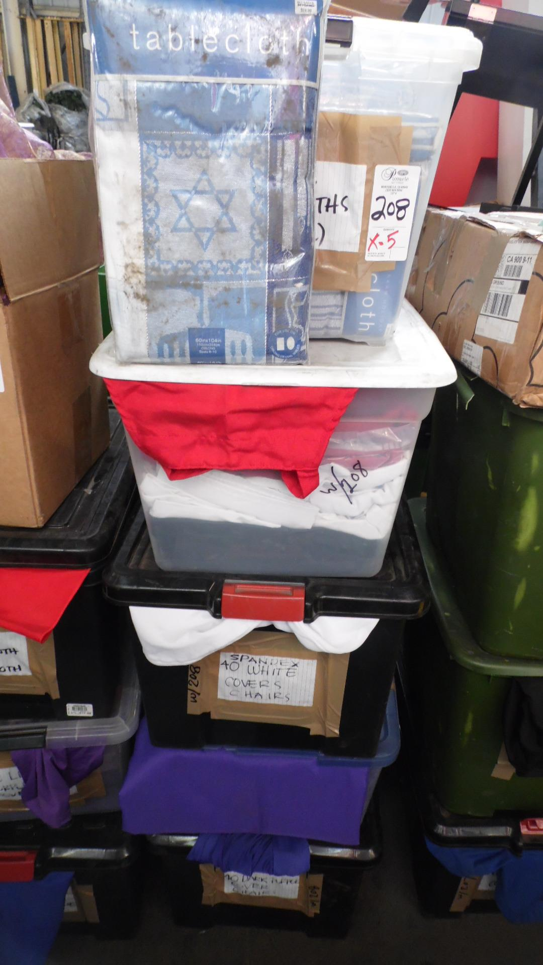 Lot 208 - CASES OF TABLE CLOTHS & COVERS