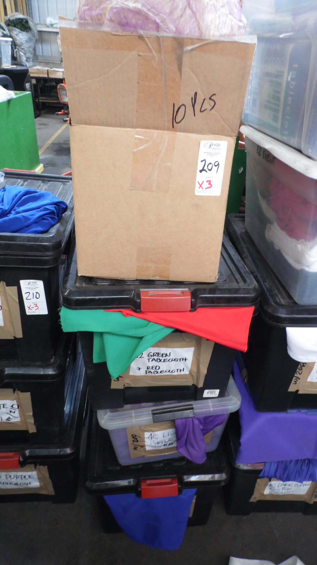 Lot 209 - CASES OF TABLE CLOTHS & COVERS