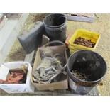 SEVERAL PAILS, CHAIN, MIRRORS, MISC