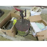 GREASE PUMP, WOOD STAKES, MISC