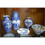 Five Oriental Pots and Dishes